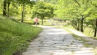 MS Shot of Woman having jogging in park / Uji, Kyoto, Japan