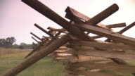 CU PAN Shot of Wooden fence at Gettysburg National Military Park during sunrise / Gettysburg, Virginia, United States
