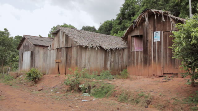 MS Shot of wooden house in village / Serra Pelada, Para, Brazil
