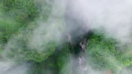 WS AERIAL shot of Wulong Karst Landform with heavy fog,Chongqing, China
