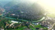 WS AERIAL shot of Xijiang Qianhu Miao village in morning,Guizhou,China.