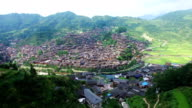 WS AERIAL shot of Xijiang Qianhu Miao village,Guizhou,China.
