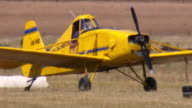 MS Shot of Yellow plane before take off / Macarthur, Victoria, Australia