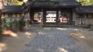 MS POV AERIAL Shot of yongjusa temple with top in hwaseong / hwaseong, gyeonggi-do, South Korea