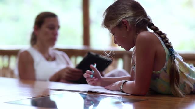 MS Shot of young girl doing her homework / Ubud, Bali, Indonesia