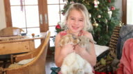 MS Shot of young girl playing with her two bunnies on floor / Lamy, New Mexico, United States