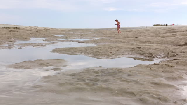 WS Shot of young girl searching for shell at beach / St. Simons Island, Georgia, United States