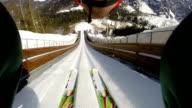 HD: Shot of Young Man at Ski Jumping