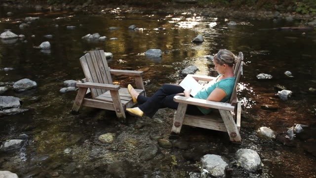 MS Shot of young women sitting in adirondack chair and reading book / Big Sur, California, United States