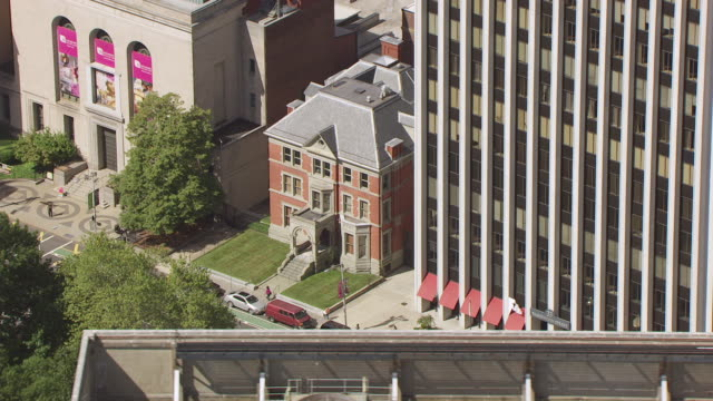 MS AERIAL Shot over Ballantine house at city Performing Arts Center / Newark, New Jersey, United States