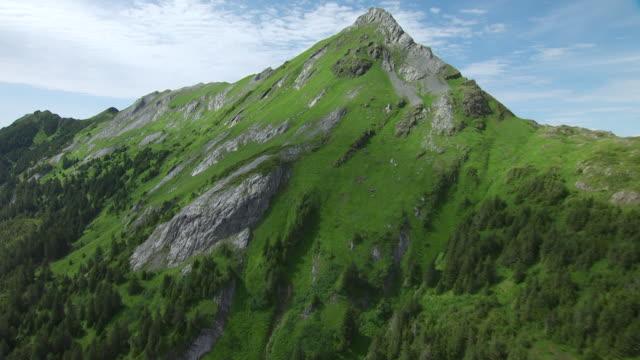 MS AERIAL Shot over mossy ridge of mountain / Chichagof Island, Alaska, United States