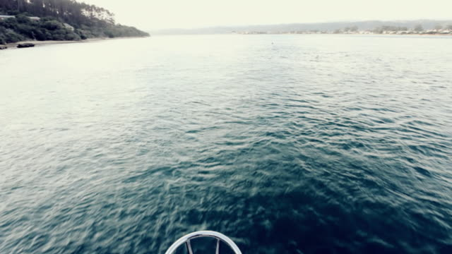 WS TU Shot over ocean from front of boat / South Africa