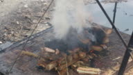 MS Shot over public cremation, Pashupatinath, Buddhism death, burn, cremate / Kathmandu, Nepal