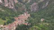 WS AERIAL Shot over roof tops in Barbieres village / Rhone Alpes, France