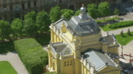 MS AERIAL DS Shot over top of Art Pavilion / Zagreb, Croatia