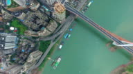 WS AERIAL shot Qiansimen bridge over Jialing River and cityscape/ Chongqing,China