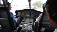 POV shots from inside an Airbus H175 Helicopter outside a Hangar in Mexico City Mexico show an Airbus sign above the Hangar entrance Shots of the...