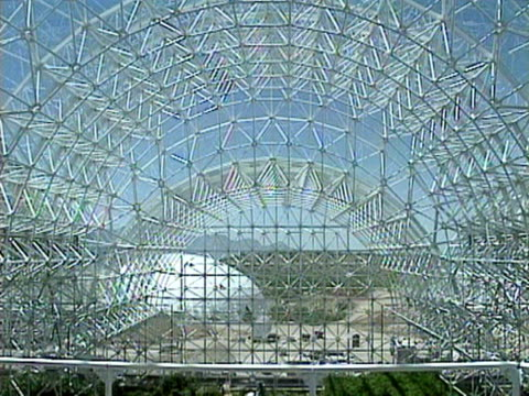 Shots of construction workers finishing off work on Biosphere 2 May 1991