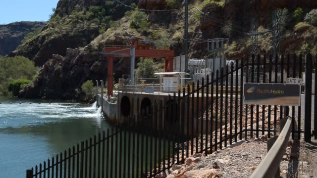 Shots of Lake Argyle as water gushes from the outlet station of the Pacific Hydro station on the Ord River 70 kilometres south of Kununnura Australia...