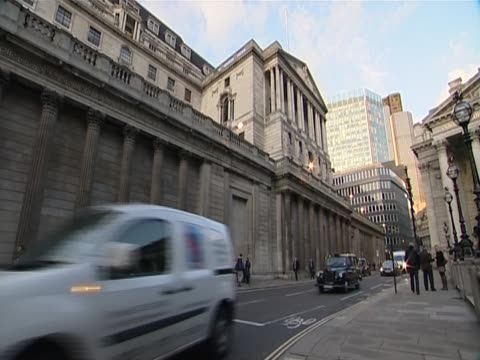 Shots of the Bank of England in evening light