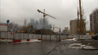 Shots of the Moscow's business district on a winters day Shows exterior wide shots of construction across the capital's business centre on December...