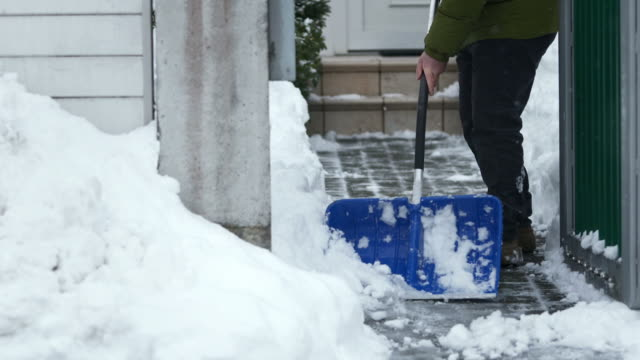 HD: Shoveling The Walkway After A Blizzard