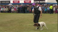 Show exterior shots police officers with sniffer dogs waiting for Royals to arrive at Sandringham Flower Show on 26th July 2017 in Norfolk England UK