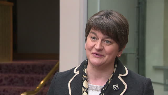 Show interior shots interview with DUP leader Arlene Foster speaking on Bombardier Boeing Trade dispute SAYS 'Like the Prime Minister I am bitterly...