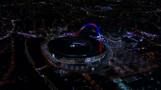 Shows Aerial Night shots Wembley Stadium in London lit up for event celebrating Narendra Modi's visit to the UK It isn't every world leader who gets...