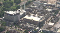 Shows aerial shots King's College Hospital with pan into helipad on roof on 21st June 2017 in London England