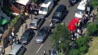 Shows aerial shots UK Prime Minister Theresa May leaving Finsbury Park Mosque after meeting with local community London is yet again the scene of...