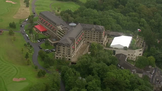 Shows aerial views of the Celtic Manor Resort Newport on August 29 2014 in Wales