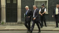 Shows eterior shots UK Chancellor Philip Hammond and UK Foreign Secretary Boris Johnson leaving number 10 Downing Street together after Cabinet...