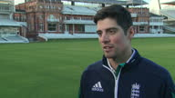 Shows exterior and interior shots England Cricket Captain Alistair Cook at Lords Cricket Ground during press event Interview with Alistair Cook...