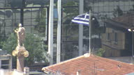 Shows exterior high shots Athens city rooftop of the Hellenic parliament on July 22 2015 in Athens Greece