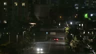 Shows exterior night shots cars being blown around driving along abandoned street as trees blow around as Hurricane Maria approaches Puerto Rico on...