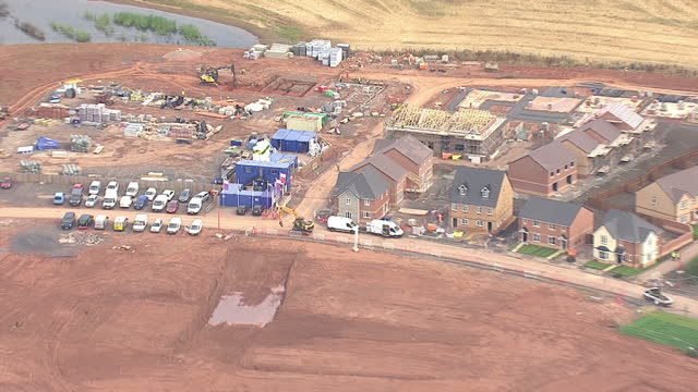 Shows exterior shots aerials construction site in countryside on August 12 2015 in Unspecified England