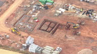 Shows exterior shots aerials construction site new build homes in the countryside on August 12 2015 in Unspecified England