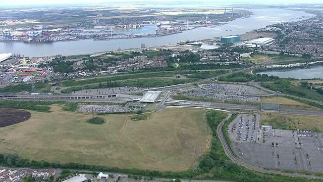 Shows exterior shots aerials Ebbsfleet International train station on July 31 2015 in Kent England