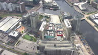 Shows exterior shots aerials MediaCityUK BBC building in Salford on August 12 2015 in Salford England