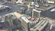 Shows exterior shots aerials MediaCityUk offices at the Salford Quays on August 12 2015 in Salford England
