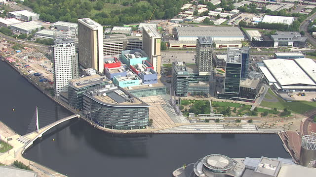 Shows exterior shots aerials MediaCityUK studios building surrounding offices on August 12 2015 in Salford England