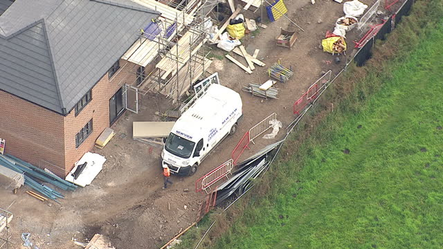 Shows exterior shots aerials new build construction site on August 12 2015 in Unspecified England