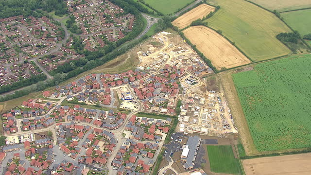 Shows exterior shots aerials new build housing construction in countryside on August 12 2015 in Unspecified England