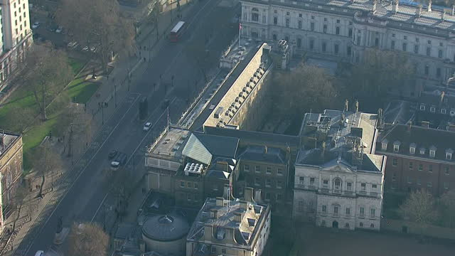 Shows exterior shots aerials pan around the Cabinet Offices building in Whitehall on January 20 2015 in London England