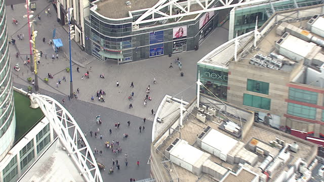 Shows exterior shots aerials shoppers walking around the bullring in Birmingham on August 12 2015 in Birmingham England