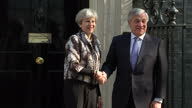 Shows exterior shots Antonio Tajani the President of the European Parliament getting out of car and meeting UK Prime Minister Theresa May on the...