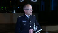 Shows exterior shots Assistant Commissioner for Specialist Operations of the Metropolitan Police Service Mark Rowley at Press Conference speaking on...