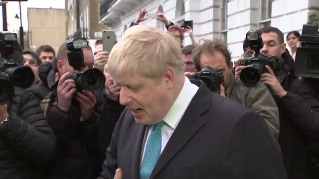 Shows exterior shots British MP Boris Johnson speaking on supporting the Vote Leave campaign but not campaigning directly against David Cameron and...
