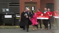 Shows exterior shots British MP's Michael Gove Theresa Villiers Iain Duncan Smith Priti Patel and John Whittingdale leaving antiEU 'Vote Leave'...